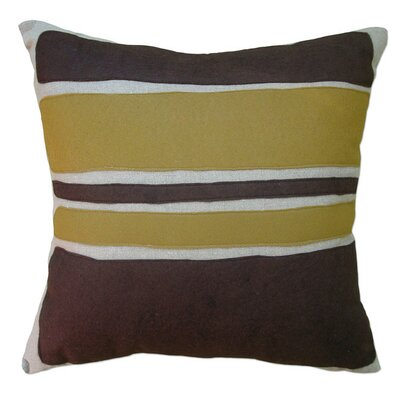Applique Block Linen Throw Pillow Color: Oatmeal Linen Fabric in Chocolate/Bronze