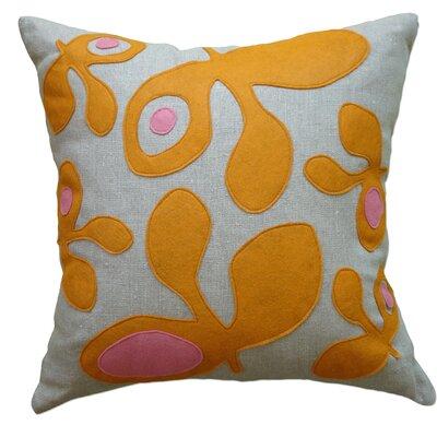 Applique Pods Linen Throw Pillow Color: Oatmeal Linen Fabric in Spice/Rose