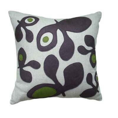 Applique Pods Linen Throw Pillow Color: Oatmeal Linen Fabric in Chocolate/Moss