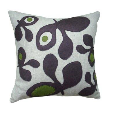 Applique Pods Linen Throw Pillow Color: Oatmeal Linen Fabric in Chocolate/Moss