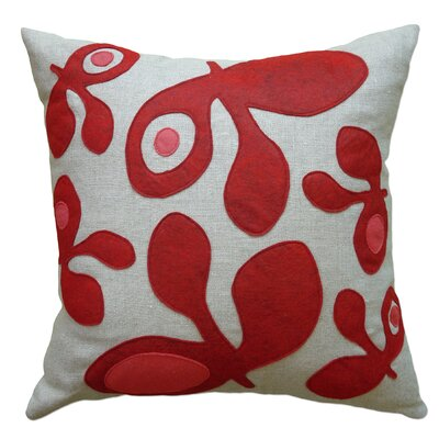 Applique Pods Linen Throw Pillow Color: Oatmeal Linen Fabric in Red/Strawberry