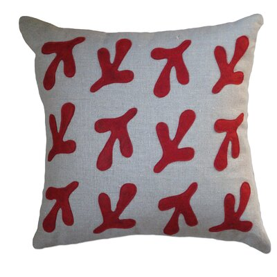 Applique Birds Feet Linen Throw Pillow Color: Oatmeal Linen Fabric in Red