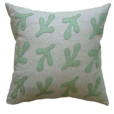 Applique Birds Feet Linen Throw Pillow Color: Oatmeal Linen Fabric in Loden
