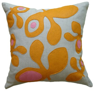 Applique Big Pods Linen Throw Pillow Color: Oatmeal Linen Fabric in Spice/Rose