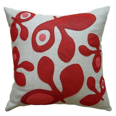Applique Big Pods Linen Throw Pillow Color: Oatmeal Linen Fabric in Red/Strawberry