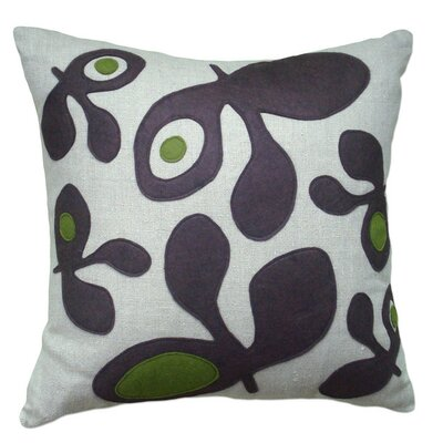 Applique Big Pods Linen Throw Pillow Color: Oatmeal Linen Fabric in Denim/Egg