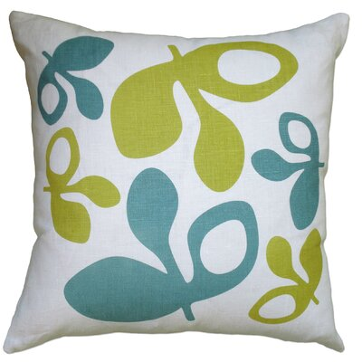 Hand Printed Pods Linen Throw Pillow Color: Blue/Yellow