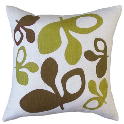 Hand Printed Pods Linen Throw Pillow Color: Green/Chocolate