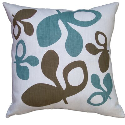 Hand Printed Pods Linen Throw Pillow Color: Blue/Chocolate
