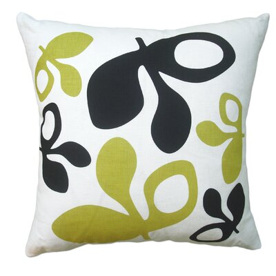 Hand Printed Pods Linen Throw Pillow Color: Black/Yellow