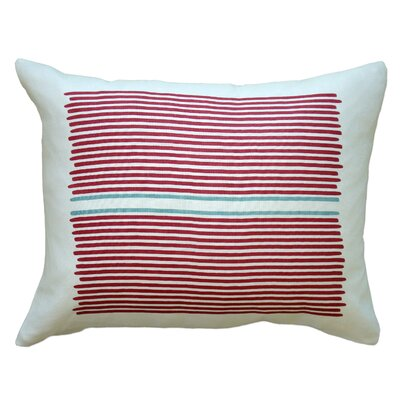 Louis Stripe Linen Lumbar Pillow Color: Red / Blue Stripe