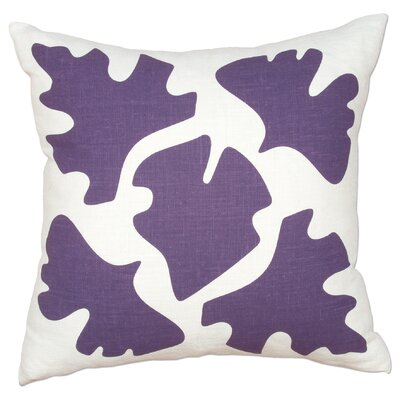 Hand Printed Shade Linen Throw Pillow Color: Purple