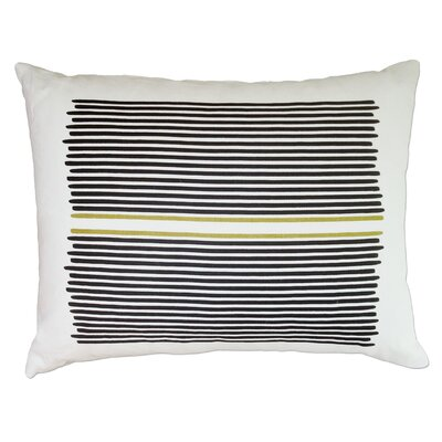 Louis Stripe Linen Lumbar Pillow Color: Black / Yellow Stripe