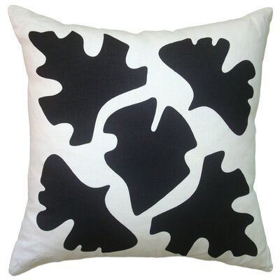 Hand Printed Shade Linen Throw Pillow Color: Black