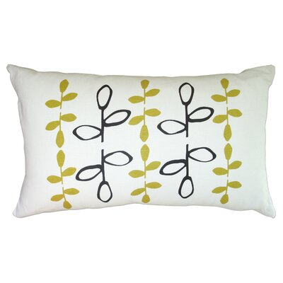 Hand Printed Branch Linen Throw Pillow Color: Black / Yellow