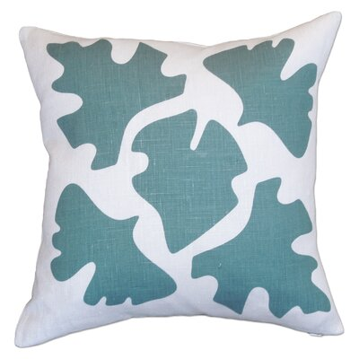Hand Printed Shade Linen Throw Pillow Color: Blue