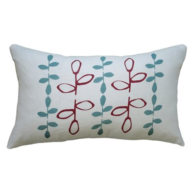 Hand Printed Branch Linen Throw Pillow Color: Red / Blue