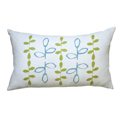 Hand Printed Branch Linen Throw Pillow Color: Blue / Yellow