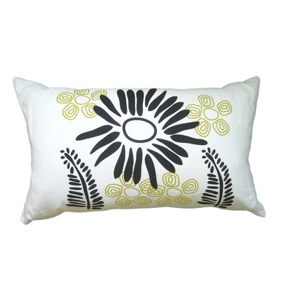 Hand Printed Fern Linen Throw Pillow Color: Black / Yellow