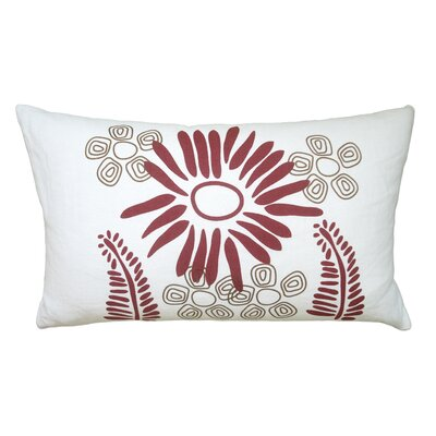 Hand Printed Fern Linen Throw Pillow Color: Red / Chocolate