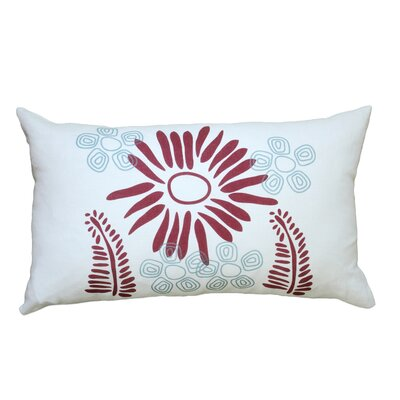 Hand Printed Fern Linen Throw Pillow Color: Red / Blue