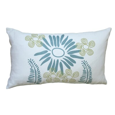 Hand Printed Fern Linen Throw Pillow Color: Blue / Yellow