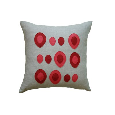 Applique Eggs Linen Throw Pillow Color: Oatmeal Linen Fabric in Red/Strawberry