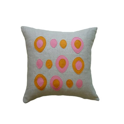 Applique Eggs Linen Throw Pillow Color: Oatmeal Linen Fabric in Spice/Rose