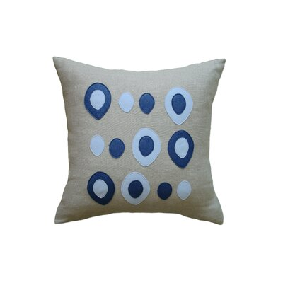 Applique Eggs Linen Throw Pillow Color: Oatmeal Linen Fabric in Denim/Egg