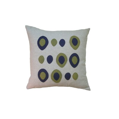 Applique Eggs Linen Throw Pillow Color: Oatmeal Linen Fabric in Navy/Leaf