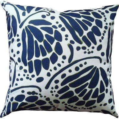 Wings Cotton Throw Pillow Size: 14 H x 18 W, Color: Navy