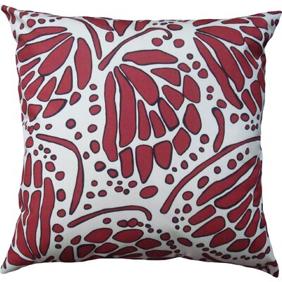 Wings Cotton Throw Pillow Color: Red, Size: 16 H x 16 W