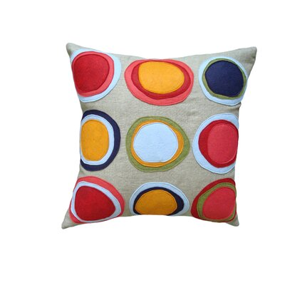Mona Linen Throw Pillow Color: Red/Blue