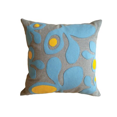 Applique Pods Linen Throw Pillow Color: Oatmeal Linen Fabric in Blue/Yellow