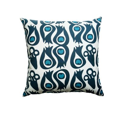 Hand Printed Peacock Cotton Throw Pillow Size: 16