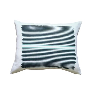 Hand Printed Louis Stripe Throw Pillow Color: Teal / Blue