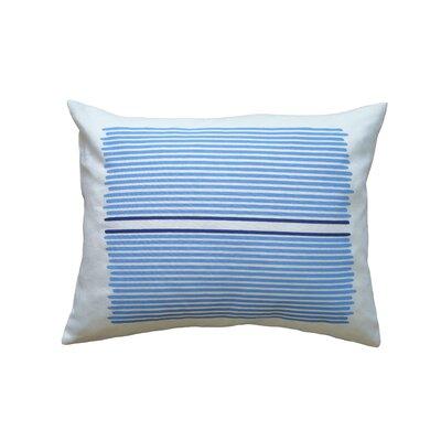 Hand Printed Louis Stripe Throw Pillow Color: Sky / Cobalt