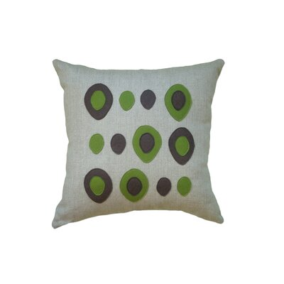 Applique Eggs Linen Throw Pillow Color: Oatmeal Linen Fabric in Chocolate/Moss