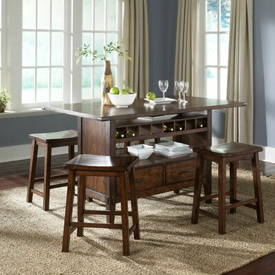 LibertyFurniture Cabin Fever Formal 5 Piece Center Island Dining Set in Bistro Brown Best Price