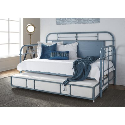 Weinstein Twin Metal Daybed Color: Blue, Accessories: With Trundle