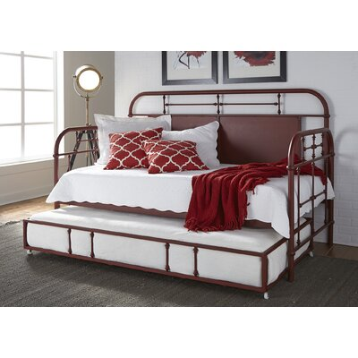Weinstein Twin Metal Daybed Color: Red, Accessories: With Trundle