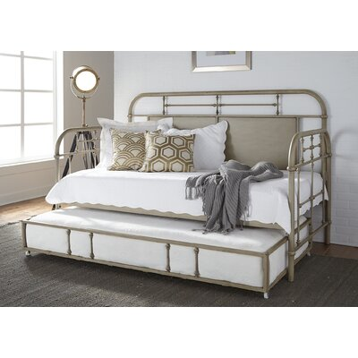 Weinstein Twin Metal Daybed Color: Antique White, Accessories: With Trundle