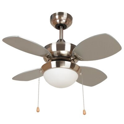 Image of 28 Hurricane 4 Blade Ceiling Fan Finish: Bright Brush Nickel