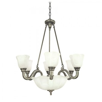 Mahogany 9-Light Shaded Chandelier Finish / Glass Shade: Pearl Satin Nickel / White Alabaster