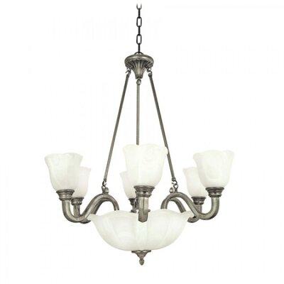 Mahogany 9-Light Shaded Chandelier Finish / Glass Shade: Pearl Satin Nickel / White Alabaster