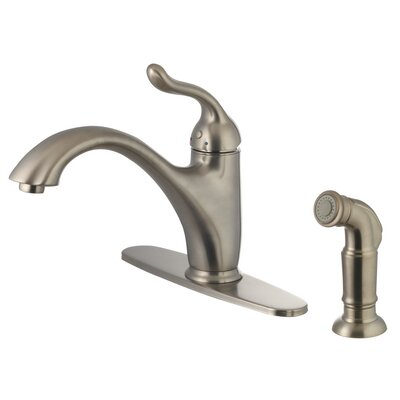 Single Handle Deck Kitchen Faucet with Side Sprayer Finish: Brushed Nickel