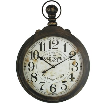 Oversized Round Metal Wall Clock Finish: Dark Brown
