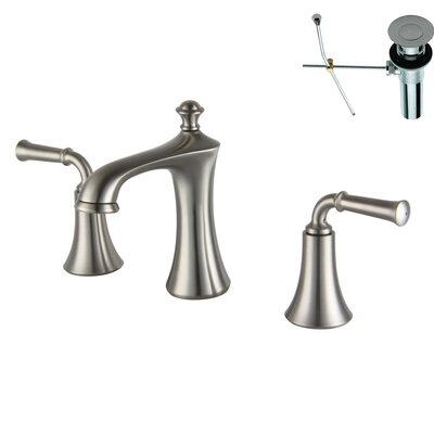 Double Handle Widespread Bathroom Faucet Finish: Brushed Nickel, Optional Accessories: With Drain