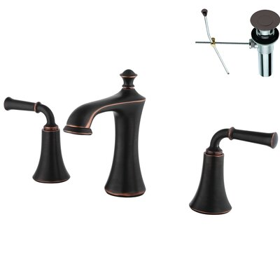Double Handle Widespread Bathroom Faucet Optional Accessories: With Drain, Finish: Bronze