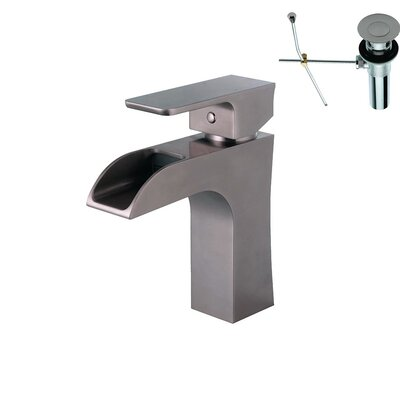 Single Handle Deck Mount Bathroom Faucet Finish: Nickel, Pop-Up Drain Included: Yes